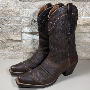 Ariat  Boots Brown Leather Cowboy Western Dixie